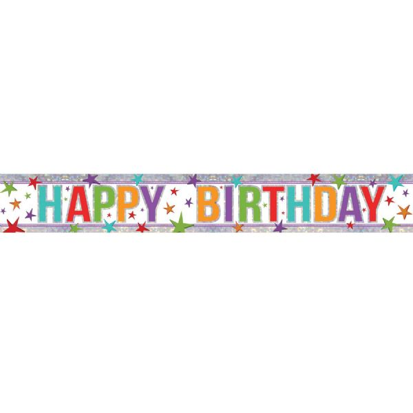 Holographic Multi Colour Happy Birthday Foil Banner